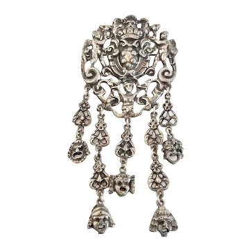 "Renaissance Revival Italian Cini Style Angel Pin with ""Green Man"" Dangles"
