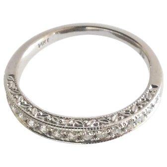 Vintage 14K White Gold Diamond Half Eternity Wedding Band