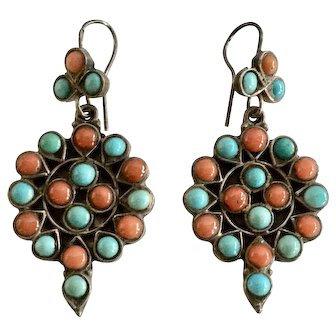 Antique 925 Sterling Turquoise & Coral Cabochon Dangle Earrings