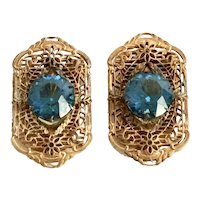 Vintage c. 1920s Filigree  Dress / Fur Clip Pair with Blue Rhinestone