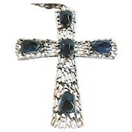 Tortolani blue glass and silver-tone cross on chain