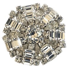 Weiss Clear Vintage Rhinestone Brooch Pin, Wedding Worthy