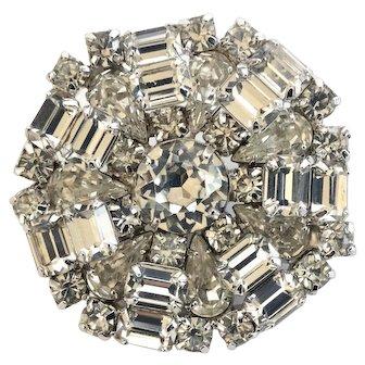 Weiss Clear Vintage Rhinestone Brooch Pin, Wedding Worthy