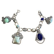 Vintage Renaissance Revival Filigree & Glass Charm Bracelet
