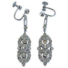 1930s Deco Rhinestone Dangle Screw Back Earrings