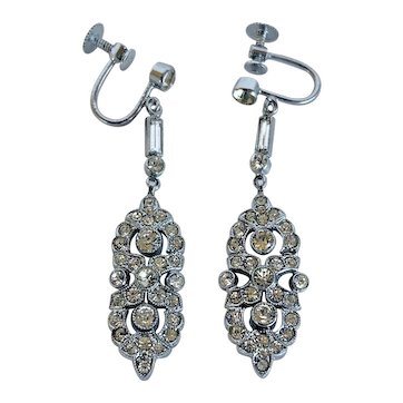 1930s Deco Rhinestone Dangle Screw Back Earrings
