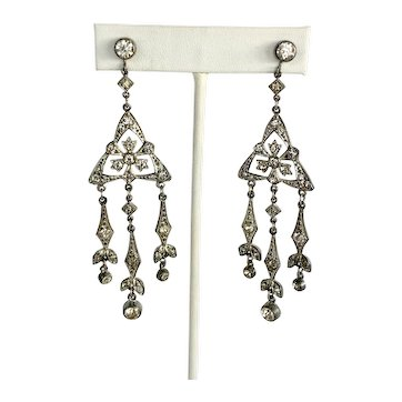 Vintage Art Deco Chandelier Screw Back 1920s / 1930s Earrings