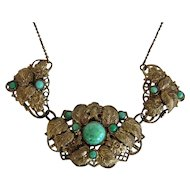Vintage 1930s Czechoslovakia Peking Glass Gürtler Work Brass Gilt Necklace