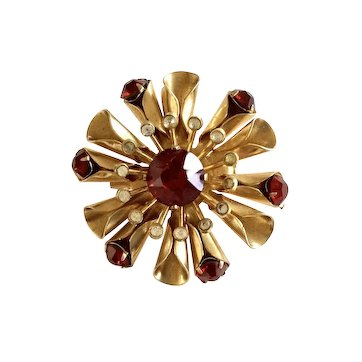 Coro Ruby Red Rhinestone Pin/Brooch