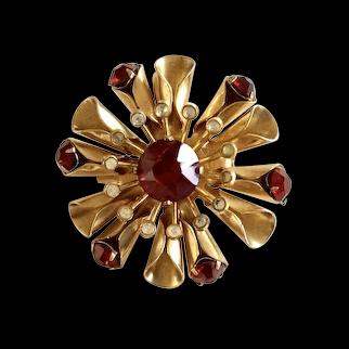 Coro Ruby Red Rhinestone Pin/Brooch
