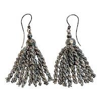 Victorian Cut Steel Micro-Bead Tassel Earrings