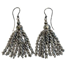 Victorian Cut Steel Micro-Bead Tassel Earrings