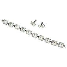 Art Deco Sterling Square Cut Crystal Bracelet/Earring Set