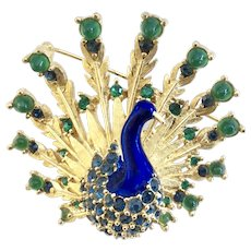 BOUCHER 1960s Enamel Peacock Pin - Book Piece