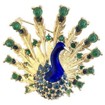 BOUCHER 1960s Enamel Peacock Pin - Book Piece