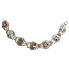 Vintage 835 Silver German Enamel Souvenir Bracelet