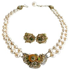 Miriam Haskell Imitation Pearl Necklace and Earrings with Rose Montée Rhinestones