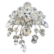 Eisenberg Vintage Floral Spray Clear Rhinestone Brooch Pin, Wedding Worthy