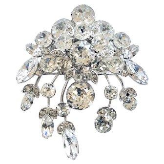 Eisenberg Vintage Floral Spray Clear Rhinestone Brooch Pin, Wedding Worthy