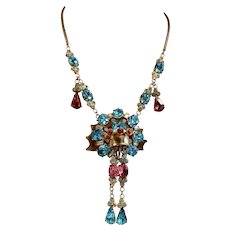 1940s Retro Style Turquoise and Pink Rhinestone Necklace
