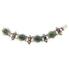 Austro-Hungarian Chrysoprase Filigree Gilt Silver Bracelet