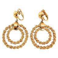 Trifari 1950s Twisted Gold-tone Double Hoop Dangle Earrings