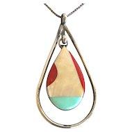 Zuni Vintage Sterling Turquoise, MOP Inlay Pendant by Richard & Geneva Terrazas