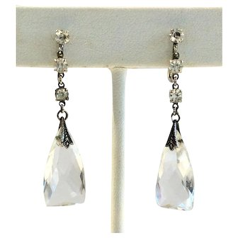 Edwardian Sterling and Faceted Crystal Dangle Earrings