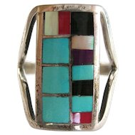 Zuni Sterling Turquoise, Onyx  Inlay Vintage Ring by R Latone