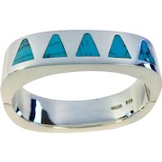 950 Sterling Mexico Hinged Bangle Bracelet with Turquoise Inlay