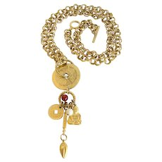 Asian Theme Long Charm Necklace