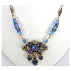 Vintage Czech Filigree blue rhinestone medallion necklace with  enamel