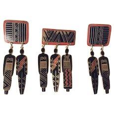 Laurel Burch Vintage Tribal Spirit Pin and Earrings