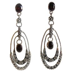 Sajen 925 Sterling Silver Garnet Long Dangle Earrings