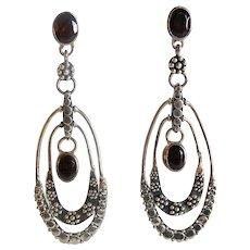 Sajen 925 Sterling Silver Garnet Long Dangle Earrings
