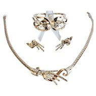 Trifari 1949 Meteor Parure of Necklace, Bangle and Earrings