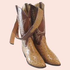 TO Stanley Full Quill Ostrich Cowboy Boots with Matching Belt