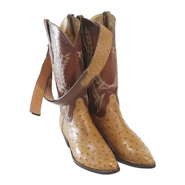 TO Stanley Full Quill OstrichCowboy Boots with Matching Belt
