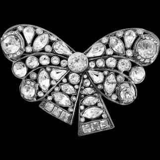1930s Vintage Clear Rhinestone  Bow Brooch