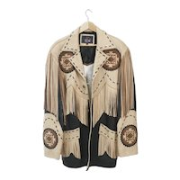 Men's Vintage western themed Volcano brand fringed leather jacket, size large