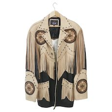 Men's Vintage western themed Volcano brand fringed leather jacket, size large