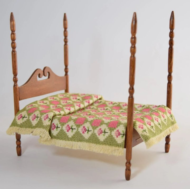 Vintage Miniature Dollhouse Early American Rope Bed