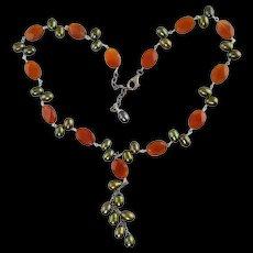 Carnelian & Green Freshwater Pearl Necklace Sterling Silver