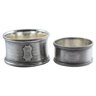 "2 Antique Coin Silver Napkin Rings Engine Turned Engraved ""Mother from Fannie"""