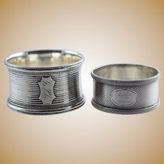 """2 Antique Coin Silver Napkin Rings Engine Turned Engraved """"Mother from Fannie"""""""