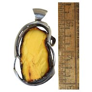 Rare Natural Baltic Amber Pendant Sterling Silver, Egg Yolk Butterscotch