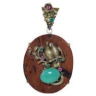 "Highly Unusual Custom Made Sterling Silver Gilt Diamond & Gemstone Pendant w/Love Birds 3.5"" Vintage"