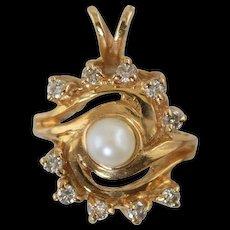 14k Diamond & Cultured Pearl Pendant 3.5 grams
