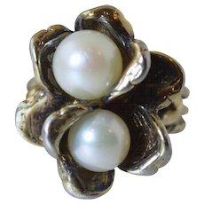Vintage Uncas Sterling & Cultured Pearl Flower Fashion Designer Ring sz 6.25