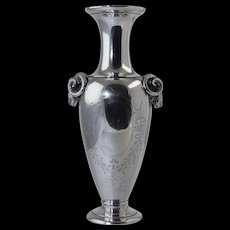 "Rare Gorham Coin Silver Vase with Ram Heads c1865, 8"" Tall, 243 Grams, 7.8 toz, Antique"
